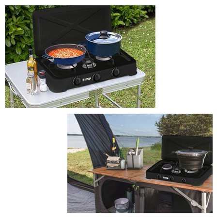 B-Camping Camping Gas Cooker Trio - Portable Gas Stove - 3-burner Stove - Outdoor Stove - Butane Gas
