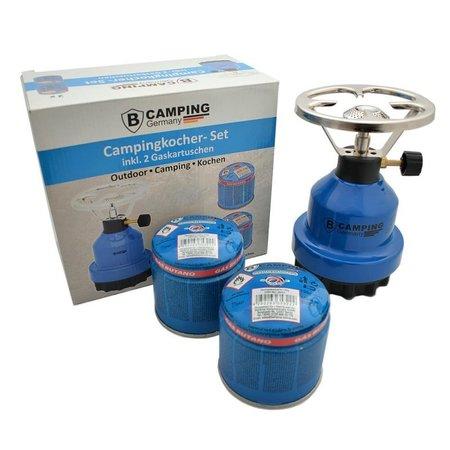 B-Camping Campingbrenner Metall - Camping Gaskocher mit 2 x Gaskartuschen 190g Set / Bundle
