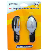 B-Camping 4-in-1 Collapsible Camping Cutlery - Fork / Spoon / Knife / Bottle Opener - Stainless Steel - Survival Cutlery