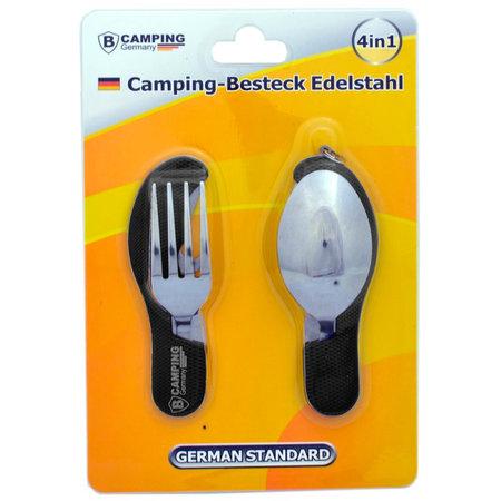 B-Camping 4-in-1 Campingbesteck Klappbar - Gabel / Löffel / Messer / Flaschenöffner - Edelstahl - Überlebensbesteck