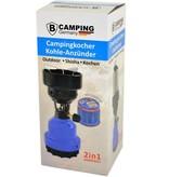 B-Camping 2-in-1-Camping-Gasbrenner - Camping-Gasherd - Gas-Kohlebrenner - Blau