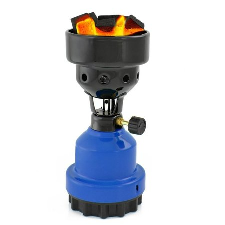 B-Camping 2-in-1 Camping Gas Burner - Camping Gas Cooker - Gas Coal Burner - Blue