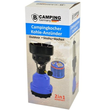 B-Camping 2-in-1 Camping Gas Burner - Camping Gas Cooker - Gas Coal Burner - Black