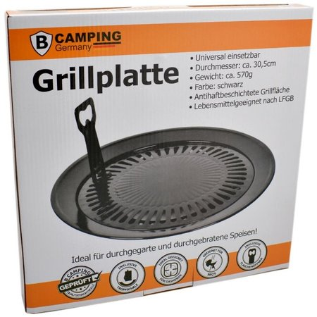 B-Camping Universele Grillplaat  - Grillopzetstuk Ø30,5 cm BBQ  voor Camping gasfornuis