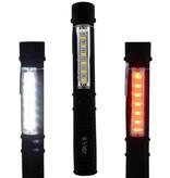 Zaklamp - Werklamp 6+6 COB + 1 Watt LED  met Clip en Magneet