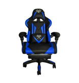 Deluxe Game Chair Black / Blue - Gaming Chair - Gaming Office Chair - Adjustable Cushion - Extendable Footrest