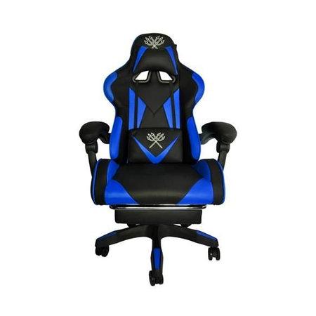 Deluxe Game Chair Schwarz / Blau - Gaming Chair - Gaming Office Chair - Verstellbares Kissen - Ausziehbare Fußstütze