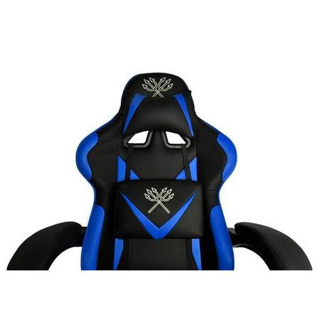 Deluxe Game Stoel Zwart/Blauw - Gaming Stoel - Gaming Bureaustoel - Verstelbaar Kussen - Uitschuifbare Voetensteun
