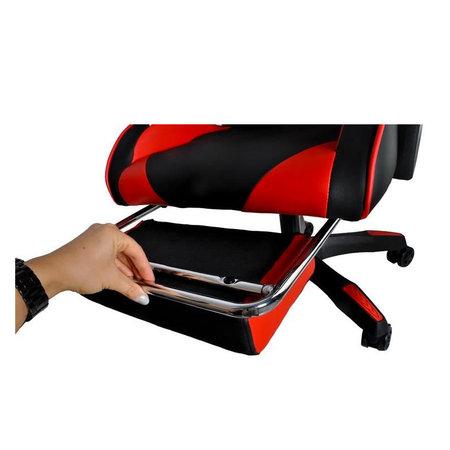 Deluxe Game Chair Schwarz / Rot - Gaming Chair - Gaming Office Chair - Verstellbares Kissen - Ausziehbare Fußstütze