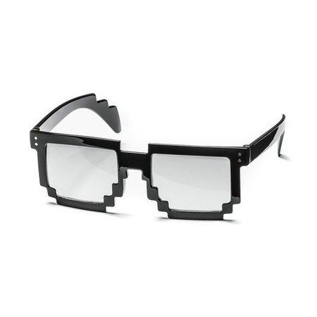 Trendy 8-bit pixel bril - Minecraft bril - Transparante Glazen - Party Bril