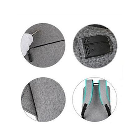 Design Anti-Diebstahl-Rucksack | USB- und Kopfhöreranschluss | Diebstahlsicherung | Diebstahlsicherer Rucksack | Grau schwarz