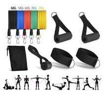 Widerstandsbänder Set - Trainingsset mit Griffen - 11-teiliges Trainings-Fitness-Set