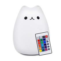 Kitten Bedlamp Nachtlamp met Meerkleurige RGB LED Verlichting - Siliconen