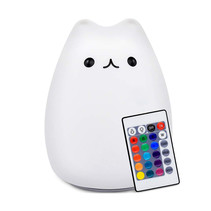 Kitten bedside lamp night lamp with multicolored RGB LED lighting - Silicone
