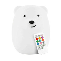 Bear bedside lamp night lamp with multi-colored RGB LED lighting - Silicone