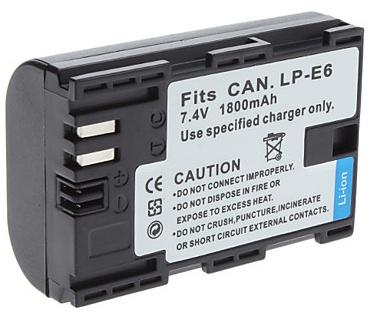 Accu - Batterij voor Canon LP-E6 - 1800 mAh