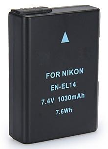 Accu - Batterij voor Nikon EN-EL14 - 1030 mAh