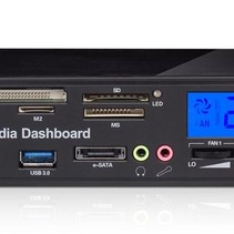 USB 3.0 Media Dashboard Front Panel Card Reader with LCD PC - model 525F20