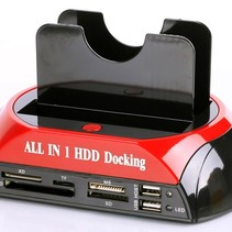 All in 1 Dual HDD Docking Station Backup IDE HDD Card Reader