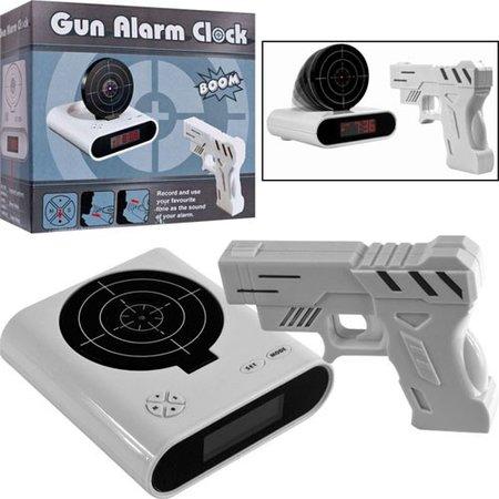 Geeek Gun Alarm Clock - Alarm Clock Kids - Digital Alarm Clock - Alarm Clock Alarm Clock - Alarm Clock Gun - White