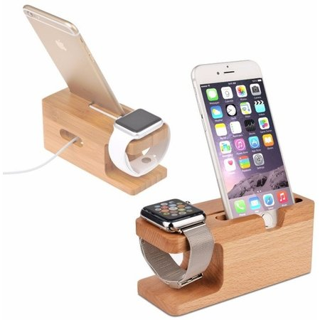 Geeek Bamboo Wooden Docking Station Dock for Apple Watch and iPhone