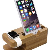 Bamboe Houten Docking Station Dock voor Apple Watch en iPhone
