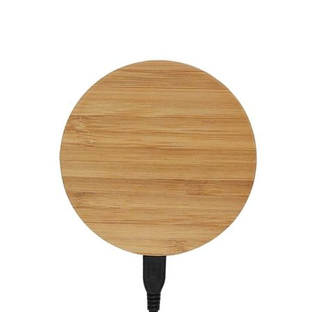Geeek Universal wooden Qi wireless charger / charging pad fast charging with USB cable round