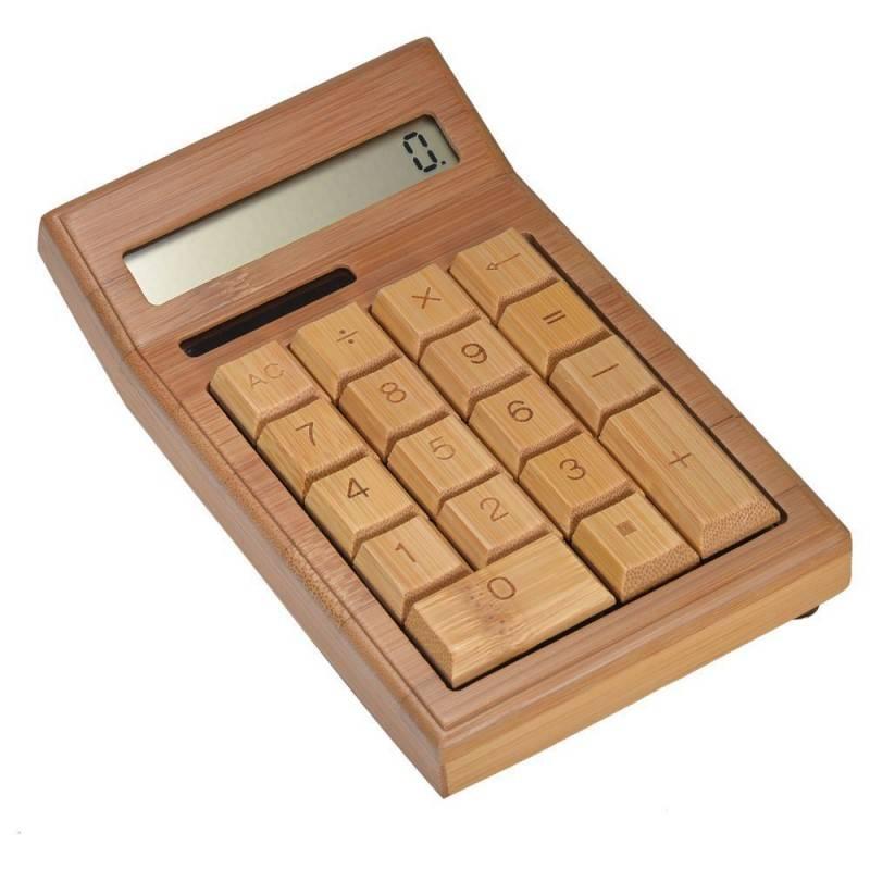 Deze bamboe houten rekenmachine is gemaakt van duurzaam, recyclebaar materiaal en werkt op zonne energie. het ...