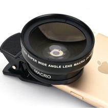 Universal Smartphone 0.45x Superweitwinkelobjektiv 15X Makroobjektiv Rund
