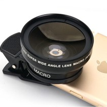 Universeel Smartphone Super 0.45X Wide Angle Lens 15X Macro Lens Round