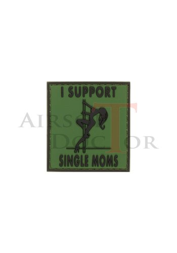 I Support Single Mums Rubber Patch - Green