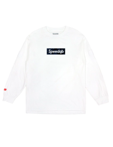 SpeedQB BLUE GLITCH CAMO BOX LOGO LS TEE – WHITE
