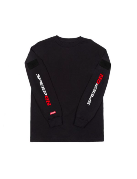 SpeedQB R Type (White/Red Logo) LS Tee - Black
