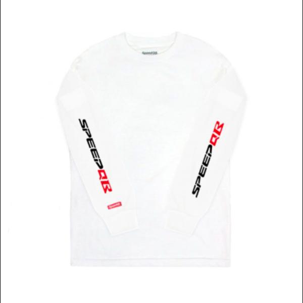 SpeedQB R Type (Black/Red Logo) LS Tee - White