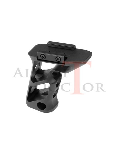 Metal CNC Picatinny Long Angled Grip - Black