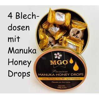 Manuka Honing / Honig - BEE NATURAL MANUKA-HONIG BONBONS / 4x 100g MGO® 300+ MANUKA-HONIG BONBONS