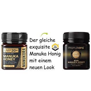 Manuka Honing / Honig - MANUKORA MANUKAHONEY UMF® 20+ (= MGO ≥ 829) / 250g MANUKA-HONEY MANUKORA