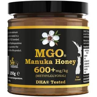 Manuka Honing / Honig - BEE NATURAL MANUKA-HONIG MGO® 600+ / IN EINEM ECHTGLAS GLAS / 250g MANUKA-HONIG