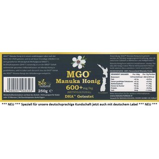 Manuka Honing / Honig - BEE NATURAL MĀNUKA-HONEY MGO® 600+ / REAL GLASS JAR / 250g MĀNUKA HONEY