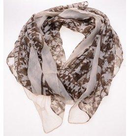 Sjaal bruin witte print