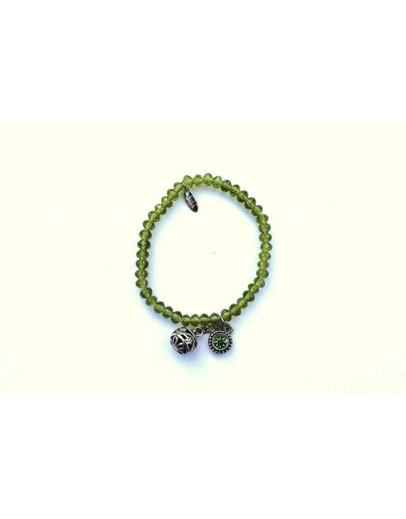 Biba Armband met zilver bedel groen