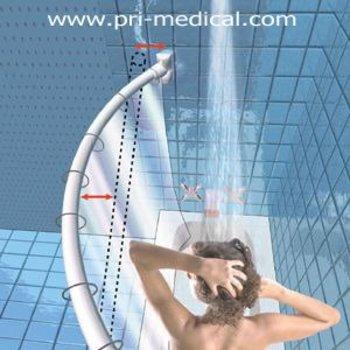 Duschstange Edelstahl CRESCENT ROD USA bietet 24cm mehr Platz in der Dusche