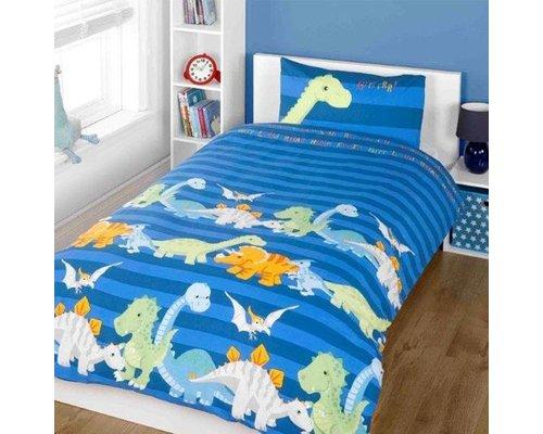 Kidz Dekbedovertrek Baby Dino's blauw