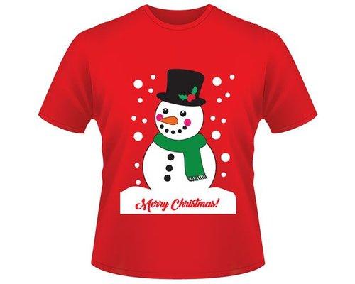Kerst T-shirt Sneeuwpop