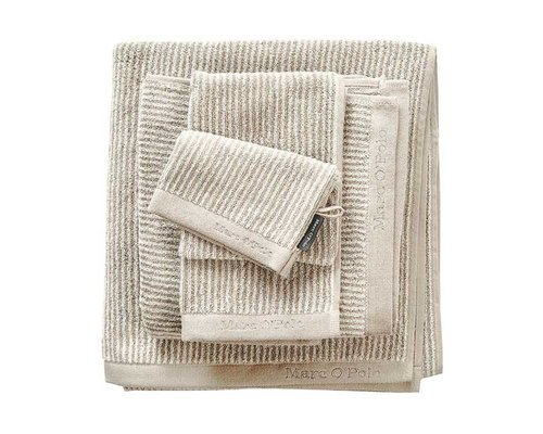 Marc O'Polo Washandje Timeless Tone Stripe oatmeal/white