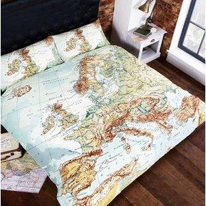 Dekbedovertrek Worldmap  200x200 cm