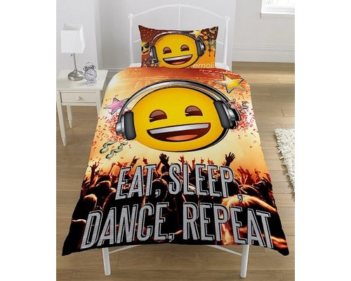 Dekbedovertrek Emoji Eat Sleep Dance