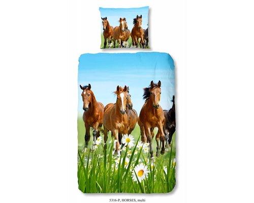 Good Morning Dekbedovertrek Horses 140x220 cm