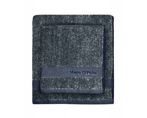 Washandje Melange marine/zilver