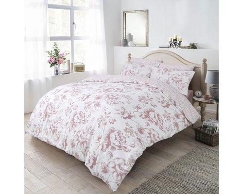 Monochrome floral dekbedovertrek blush